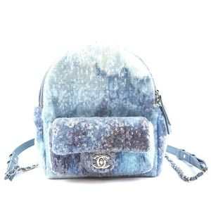 Chanel Waterfall Blue Leather and Sequins Backpack